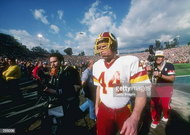 Running back John Riggins of the Washington Redskins looks on during the Super Bowl XVII against the Miami Dolphins at the Rose Bowl in Pasadena...