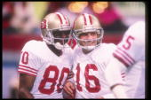 San Francisco 49ers quarterback Joe Montana and wide receiver Jerry Rice celebrate during Super Bowl XXIV against the Denver Broncos at the Superdome...