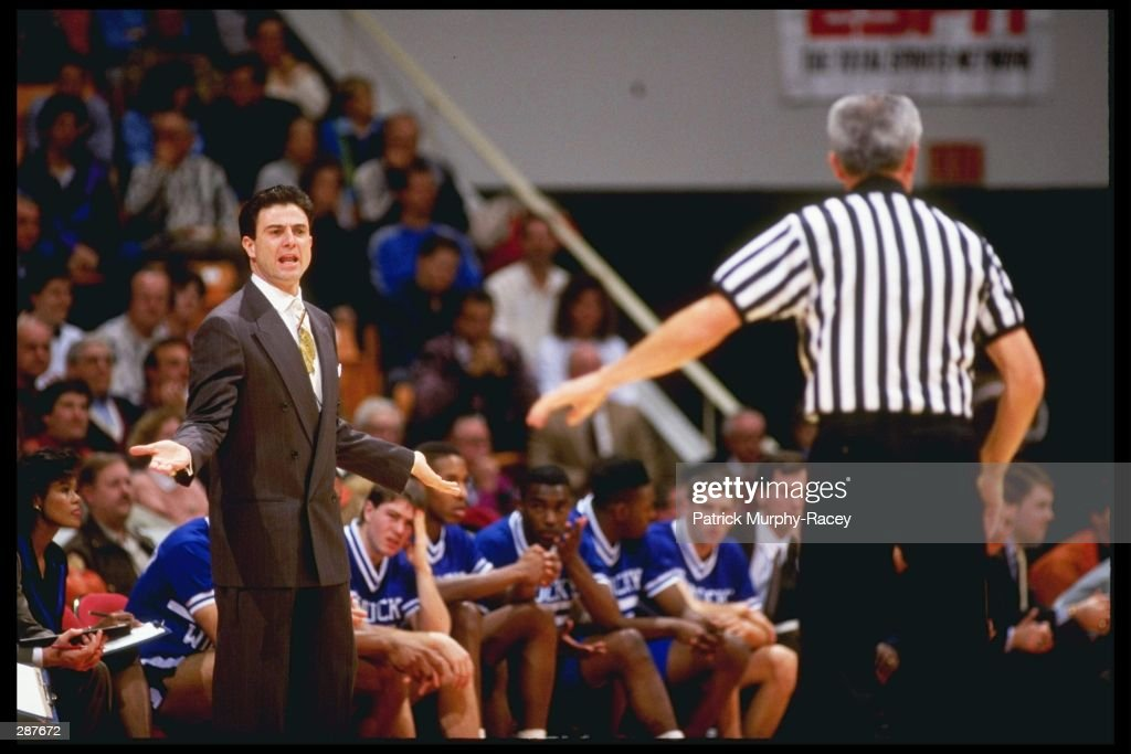 Head coach Rick Pitino of the Kentucky Wildcats yells at an official during the Wildcats 10785 loss to the Tennessee Volunteers at the ThompsonBoling...