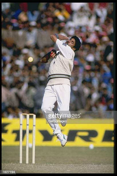 Kapil Dev of India bowling during the first one day international against England in Jaipur India Mandatory Credit Chris Cole/Allsport UK