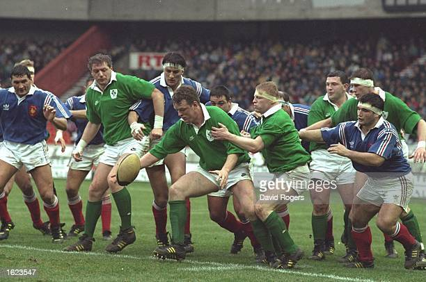 Mick Galway of Ireland attempts to gather the ball during the Five Nations Championship match against France at the Parc des Princes in Paris France...