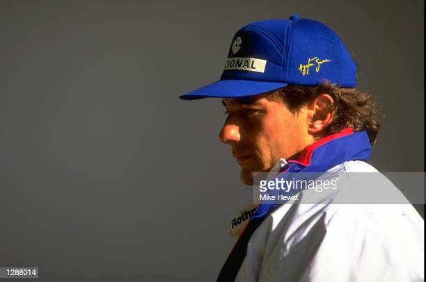 Portrait of Williams Renault driver Ayrton Senna of Brazil during the Formula One testing at the Estoril circuit in Portugal Mandatory Credit Mike...