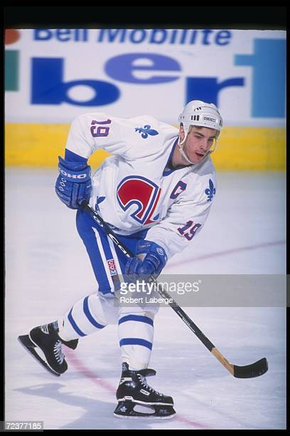 Center Joe Sakic of the Quebec Nordiques moves down the ice during a game against the Washington Capitals at the Quebec Coliseum in Quebec City...