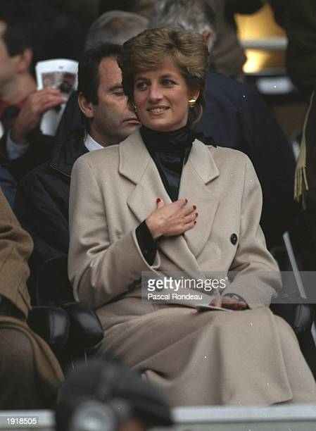 HRH Princess Diana watching Wales lose in the France v Wales match during the Five Nations Championships at Parc de Princes in Paris France won the...