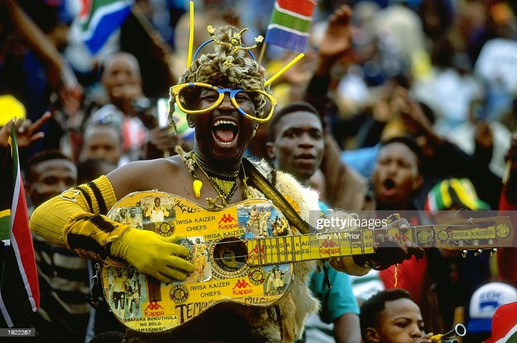 A South Africa fan supports his team at the African Cup of Nations match against Egypt at the FNB Stadium in Johannesburg South Africa Mandatory...
