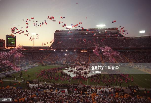 Balloons are released into the dusk sky during the halftime festivities of the Dallas Cowboys game versus the Pittsburgh Steelers in Super Bowl XXX...