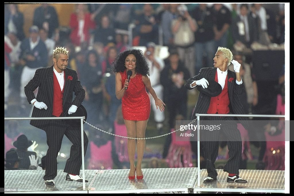 Diana Ross performs at the halftime show during Super Bowl XXX between the Dallas Cowboys and Pittsburgh Steelers at Sun Devil Stadium in Tempe, Arizona. The Cowboys won the game 27 - 17. Mandatory Credit: Al Bello /Allsport