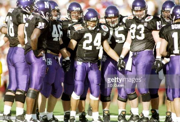 General view of the offensive huddle for the Northwestern Wildcats during the Rose Bowl game against the USC Trojans at the Rose Bowl in Pasadena...