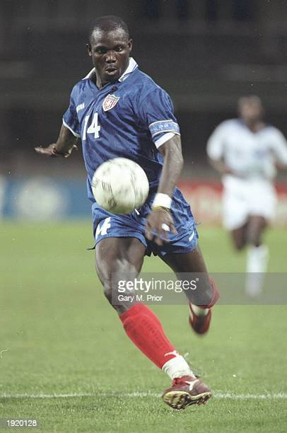 George Weah of Liberia in action during the African Cup of Nations match against Gabon at the Kings Park Stadium in Durban South Africa Liberia won...