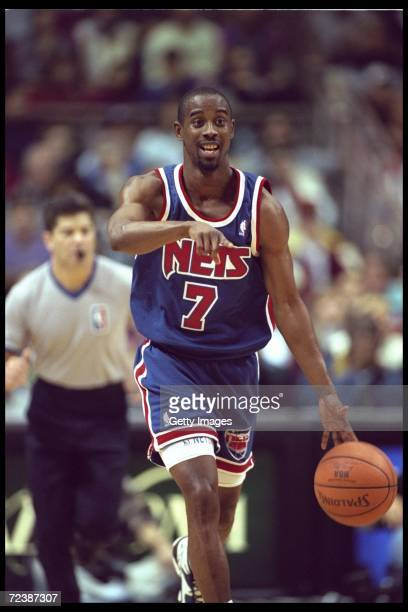 Kenny Anderson of the New Jersey Nets gestures during a game against the Orlando Magic played at the Orlando Arena in Orlando Florida The Magic won...