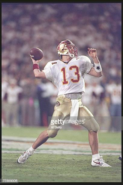Quarterback Danny Kanell of the Florida State Seminoles passes against the Notre Dame Fighting Irish during the Orange Bowl played in Miami Florida...