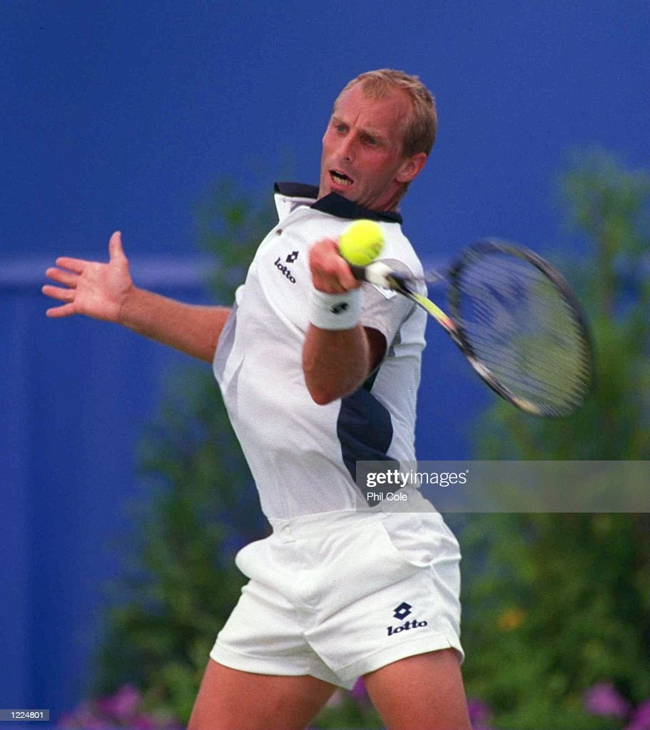 Thomas Muster of Austria hits a forehand return against Nicklas