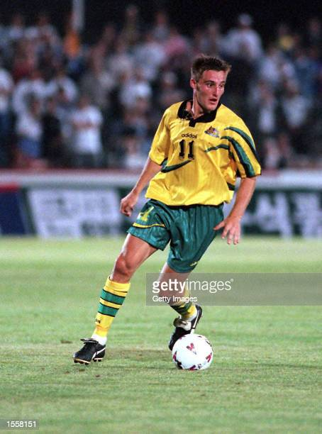 David Zdrilic of the Socceroos in action during the Optus World Soccer Series played againsts Australia and New Zealand at the Bob Jane Stadium...