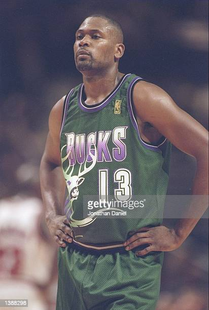 Forward Glenn Robinson of the Milwaukee Bucks stands on the court during a game against the Chicago Bulls at the United Center in Chicago Illinois...