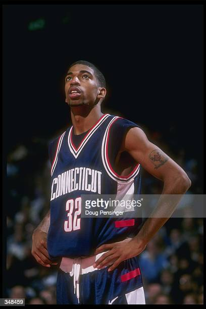 Guard Richard Hamilton of the Connecticut Huskies looks on during a game against the Georgetown Hoyas at the USAir Arena in Landover Maryland UConn...