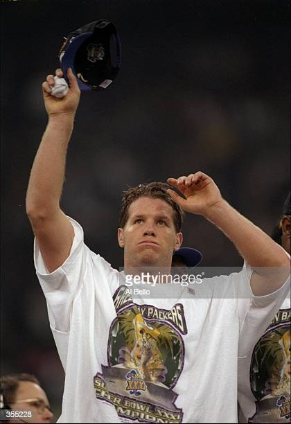 Quarterback Brett Favre of the Green Bay Packers celebrates after Super Bowl XXXI against the New England Patriots at the Superdome in New Orleans...
