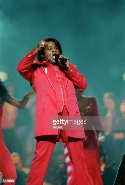 Singer James Brown performs during the halftime show for Super Bowl XXXI between the New England Patriots and the Green Bay Packers at the Superdome...
