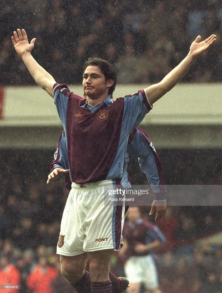 Frank Lampard of West Ham United celebrates his opening goal of the FA Cup round three tie against non league opposition Emley Town at Upton Park in...