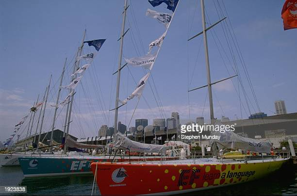 General view of the fleet moored in Sydney's Darling Harbour before the start of the fourth leg of the Whitbread Round the World Race for the Volvo...