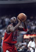 Guard Michael Jordan of the Chicago Bulls in action against the Miami Heat during a game at the Miami Arena in Miami Florida The Heat defeated the...