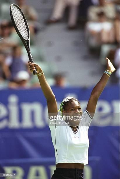 Serena Williams of the USA celebrates her victory over Irina Spirlea of Romania during the Australian Open at Melbourne Park in Melbourne Australia...