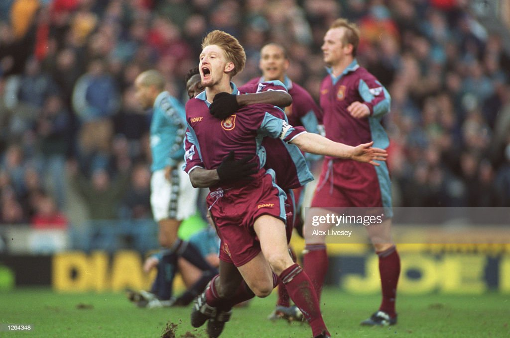 Steve Lomas of West Ham United celebrates his goal during the FA Cup fourth round tie against Manchester City at Maine Road in Manchester, England. West Ham United won the match 1-2. Mandatory Credit: Alex Livesey/Allsport
