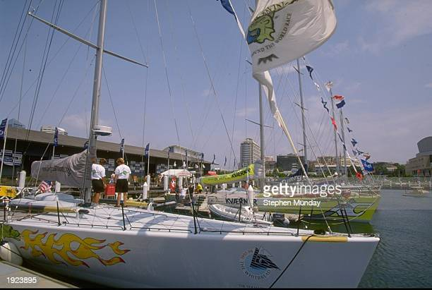 The fleet moored in Darling Harbour Sydney during the third stopover of the Whitbread Round the World Race for the Volvo Trophy 199798 Mandatory...