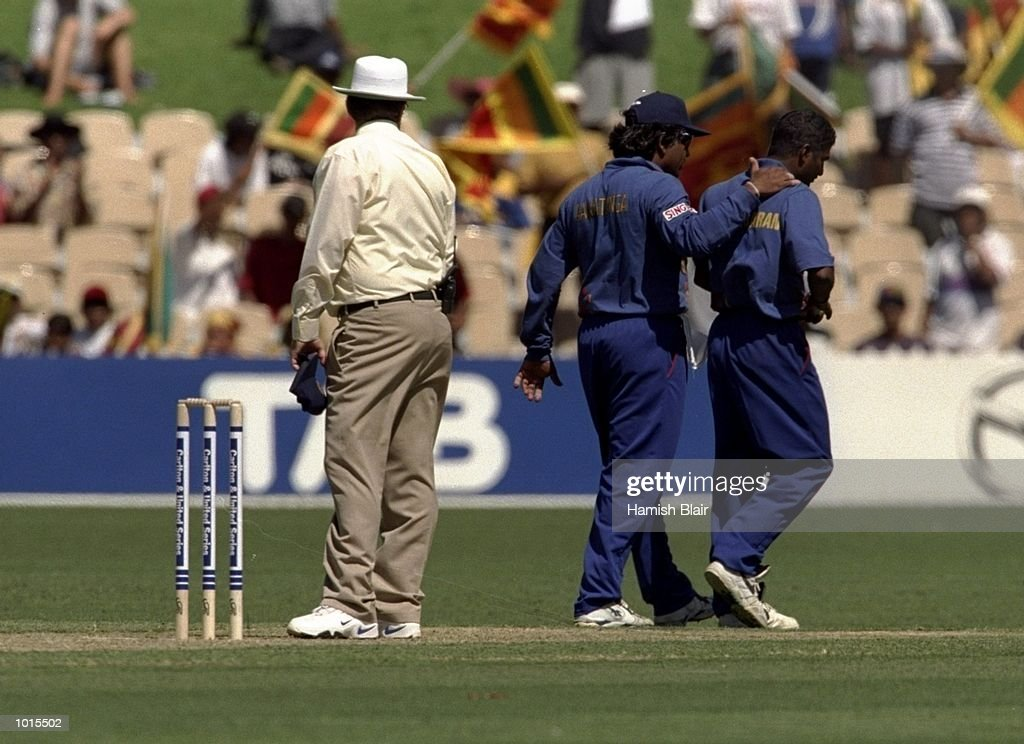Arjuna Ranatunga the Captain of Sri Lanka confronts umpire R A Emerson after he stopped a bowler for throwing during the eighth match of the Carlton and United One Day Series between Sri Lanka and England, played at the Adelaide Oval, Adelaide, Australia. Sri Lanka went on to win the game by one wicket. \ Mandatory Credit: Hamish Blair /Allsport
