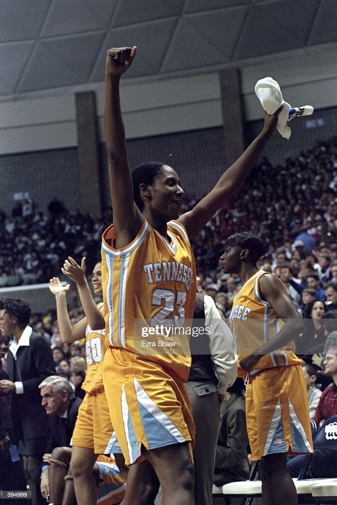 Chamique Holdsclaw of the Tennessee Lady Volunteers celebrating during the game against the UConn Huskies at the Harry A Campbell Pavillion in Storrs...
