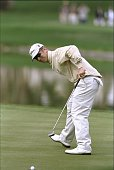 David Duval watches the winning putt during the Bob Hope Chrysler Classic at the PGA West Palmer Country Club in La Quinta California Mandatory...