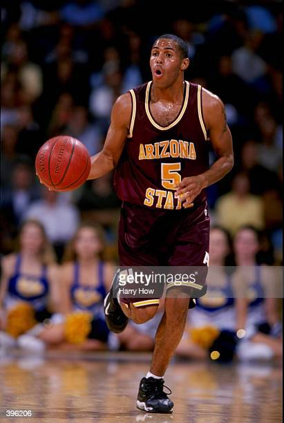 Eddie House of the Arizona State Sun Devils dribbles during the game against the UCLA Bruins at the Pauley Pavillion in Westwood California The...