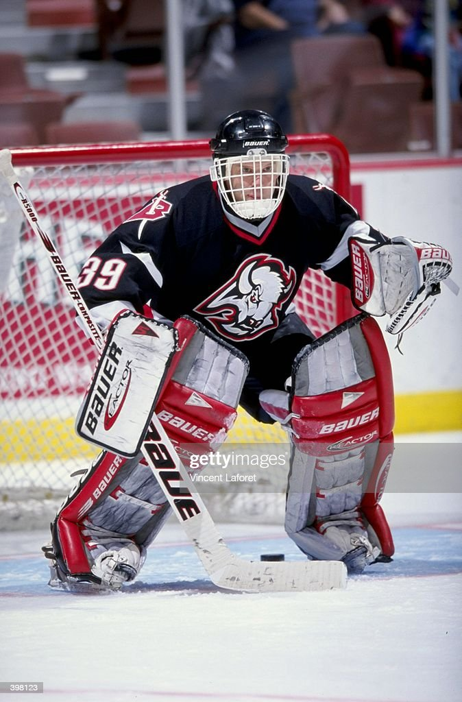 Goallie Dominik Hasek of the Buffalo Sabres in action during the game against the Anaheim Mighty Ducks at the Arrowhead Pond in Anaheim California...