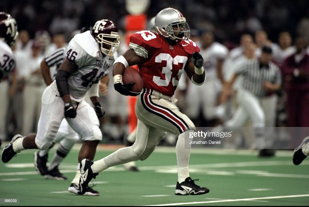 Joe Montgomery of the Ohio State Buckeyes carries the ball during the Sugar Bowl Game against the Texas AM Aggies at the Superdome in New Orleans...