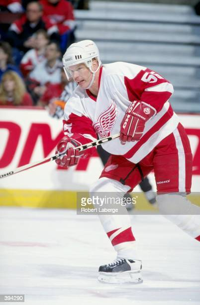 Larry Murphy of the Detroit Red Wings in action during the game against the Ottawa Senators in the Corel Centre in Ottawa Canada The Senators...