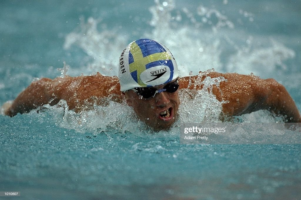 Lars Frolander of Sweden in action during the Mens 100m Butterfly at the 1999 FINA World Cup from the Sydney International Aquatic Centre, Homebush, Sydney, Australia. \ Mandatory Credit: Adam Pretty /Allsport