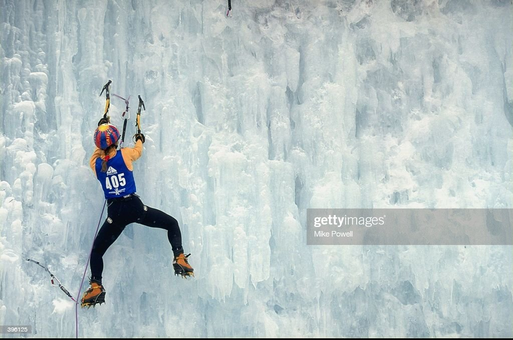 Laurence Gouault #405 in the Womens Difficulty Ice Climbing during the ESPN X- Games at Crested Butte Mountain in Crested Butte, Colorado.