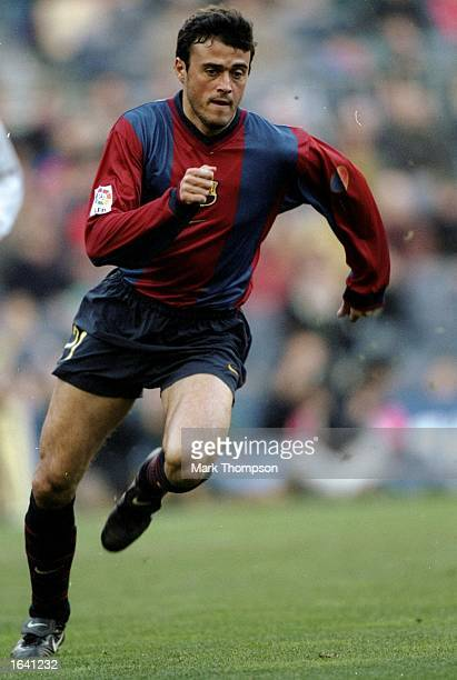 Luis Enrique of Barcelona makes a run during the Primera Liga match against Racing Santander at the Nou Camp in Barcelona Spain Mandatory Credit Mark...