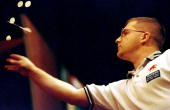 Ritchie Davies of Wales in action during the Embassy World Darts Championships in Frimley England Mandatory Credit Warren Little /Allsport