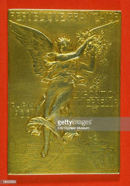 The commemorative medal from the 1900 Paris Olympic Games on display at the IOC Olympic Museum in Lausanne Switzerland Mandatory Credit IOC Olympic...