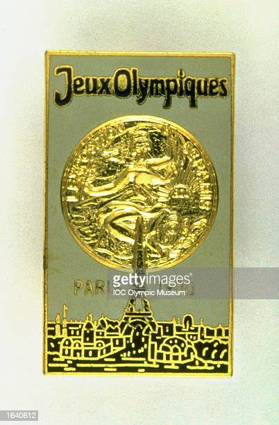 The commemorative pin from the 1900 Paris Olympic Games on display at the IOC Olympic Museum in Lausanne Switzerland Mandatory Credit IOC Olympic...