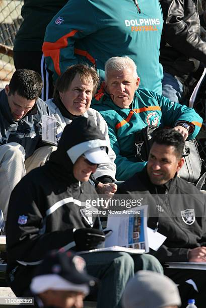 Jan 20 2009 Mobile Alabama USA BILL BELICHICK and BILL PARCELLS watch a Senior Bowl practice for the Senior Bowl's South Team at LaddPeebles Stadium