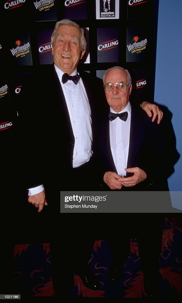 Celebrity Michael Parkinson and the father of George Best pose for cameras during the Football Writers Awards held at the Savoy Hotel in London, England. \ Mandatory Credit: Stephen Munday /Allsport