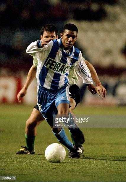 Djalminha of Deportivo La Coruna in action during the Spanish Primera Liga match against Real Betis played at the Estadio Municipal de Riazor in La...