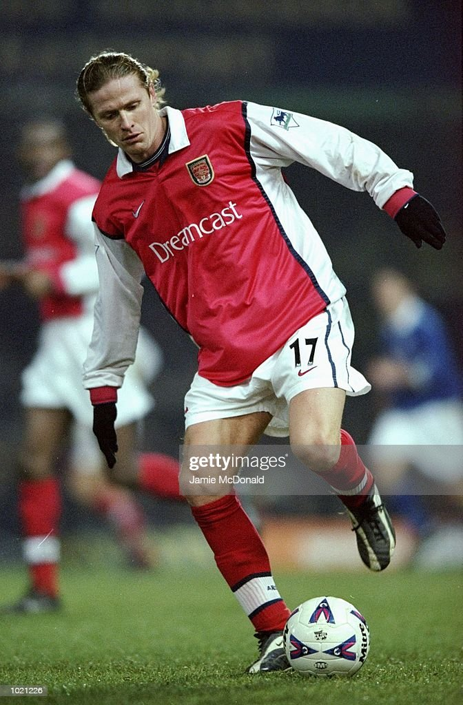 Emmanuel Petit of Arsenal in action during the FA Cup 4th Round Replay against Leicester played at Filbert Street in Leicester, England. The game ended without score. \ Mandatory Credit: Jamie McDonald /Allsport