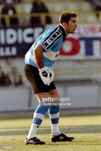 Gianluigi Buffon of Parma in action during the Italian Serie A match against Bologna played at The Renato Dall''Ara Stadium in Bologna Italy Bologna...