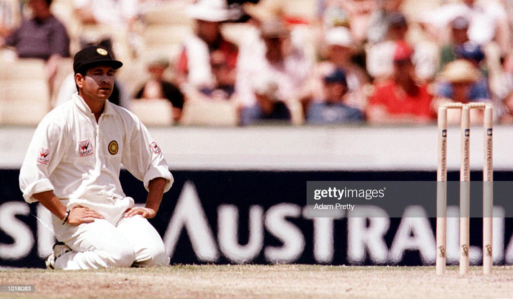 India captain Sachin Tendulkar is frustrated and dejected as Australia dominate during the third days play of the Third Test Match between Australia...