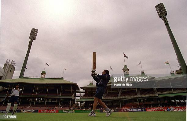 India cricket captain Sachin Tendulkar hits out during cricket nets before the Third Test match against Australia at the Sydney Cricket Ground Sydney...