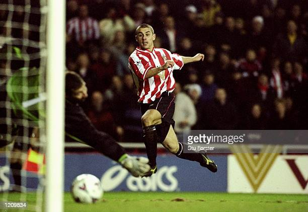 Kevin Phillips scores for Sunderland during the FA Carling Premier League match against Leeds United played at the Stadium of Light in Sunderland...