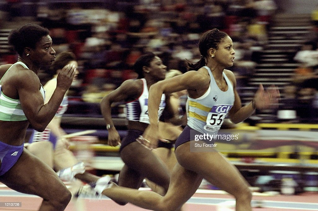Marcia Richardson of Windsor, Slough and Eton wins the semi final of the 60 metres at the CGU sponsored Amateur Athletic Association's indoor championships at the National Indoor Arena in Birmingham, England. \ Mandatory Credit: Stu Forster/Allsport