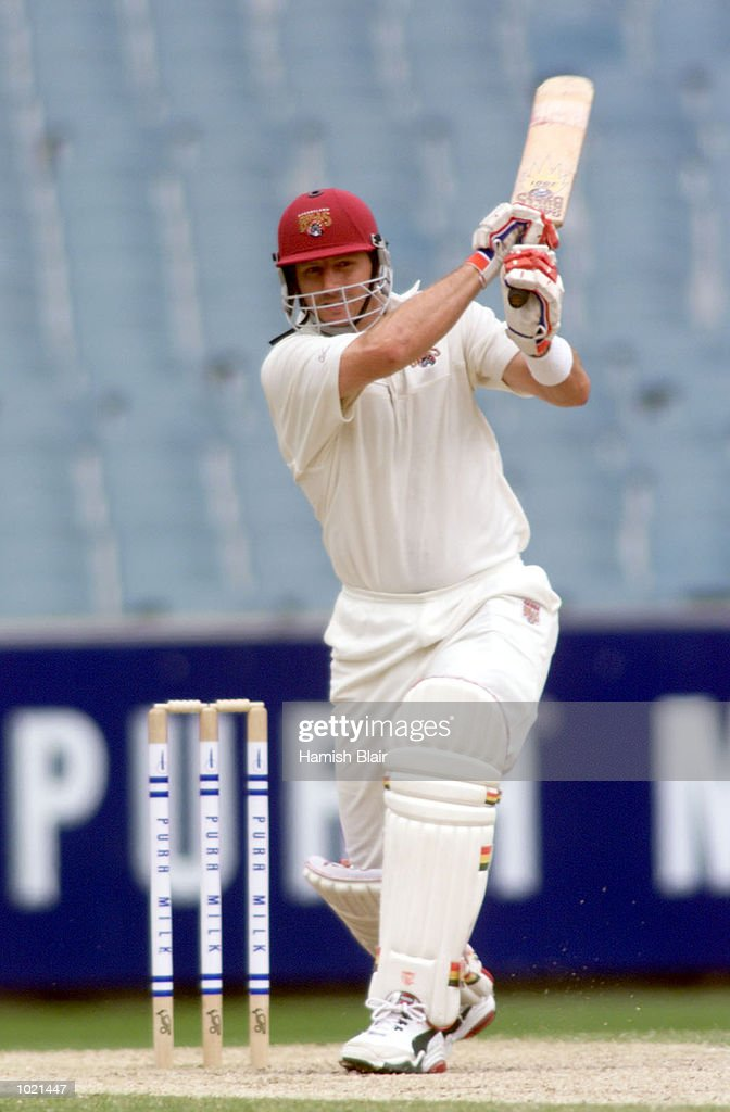 Michael Kasprowicz of Queensland hits out on his way to a half century, during the Pura Milk Cup match between Victoria and Queensland at the Melbourne Cricket Ground, Melbourne, Australia Mandatory Credit: Hamish Blair/ALLSPORT